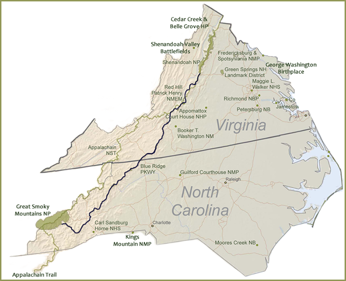 Blue Ridge Parkway Overview Map