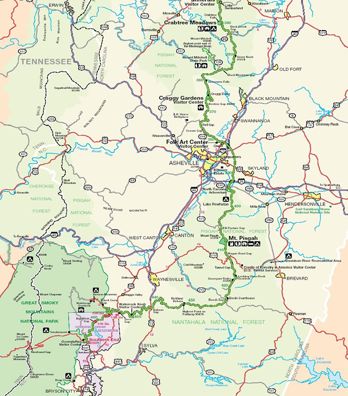 Blue Ridge Parkway Great Smoky Mountain North Carolina Map
